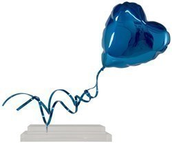 Flying Balloon Heart (Blue) by Mr Brainwash - Chrome Painted Fiberglass on Acrylic Base sized 26x38 inches. Available from Whitewall Galleries