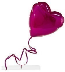 Flying Balloon Heart (Pink) by Mr Brainwash - Chrome Painted Fiberglass on Acrylic Base sized 26x29 inches. Available from Whitewall Galleries