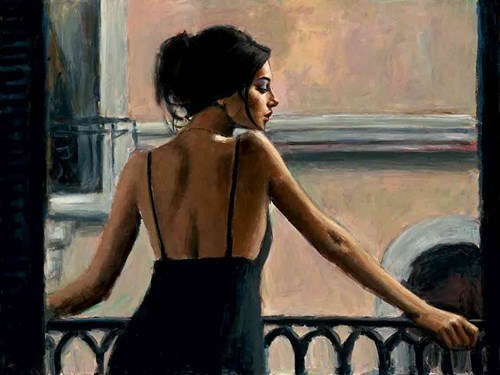 Image: Balcony at Buenos Aires VI by Fabian Perez | Limited Edition on Canvas
