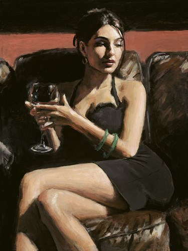 Image: Tess on Leather Couch by Fabian Perez | Limited Edition on Canvas
