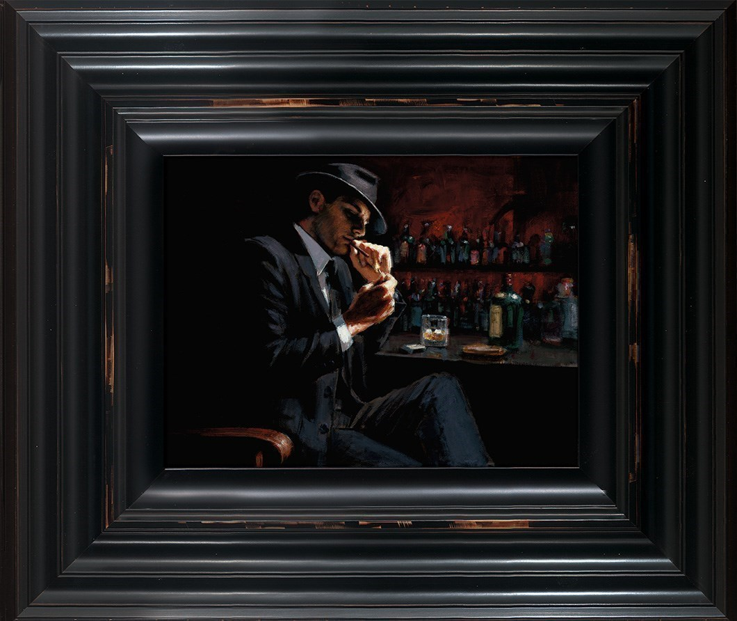 Man Lighting Cigarette III by Fabian Perez - Framed Limited Edition on Canvas