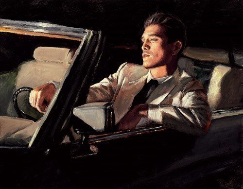 Image: Late Drive II by Fabian Perez | Hand Finished Limited Edition on Canvas