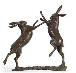 Duel (Boxing Hare) by Michael Simpson -  sized 11x12 inches. Available from Whitewall Galleries