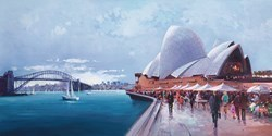 Sydney Harbour by Henderson Cisz - Hand Finished Limited Edition on Canvas sized 36x18 inches. Available from Whitewall Galleries