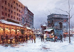 Paris in the Snow by Henderson Cisz - Hand Finished Limited Edition on Canvas sized 22x16 inches. Available from Whitewall Galleries