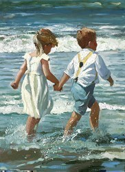Chasing the Waves by Sherree Valentine Daines - Canvas on Board sized 9x12 inches. Available from Whitewall Galleries